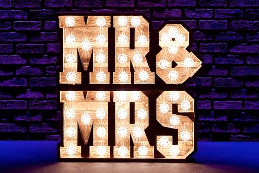 3ft rustic light up Mr and Mrs sign